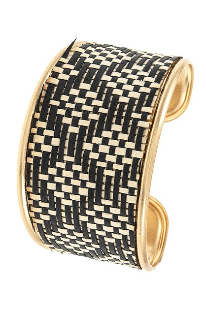 WOVEN DIAMOND PATTERN CUFF BRACELET  - orangeshine.com