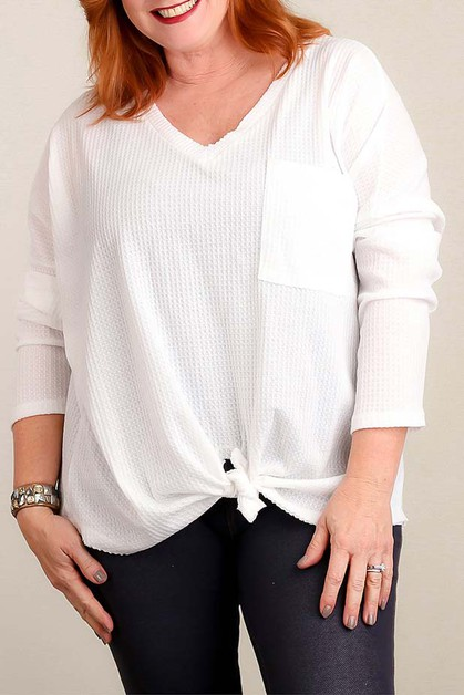 PLUS IVORY THERMAL TIE HEM BLOUSE - orangeshine.com