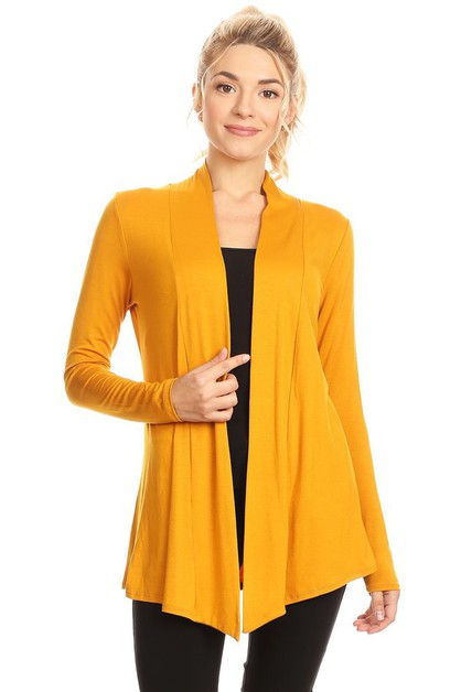 KNIT OPEN-FRONT DRAPED HEM CARDIGAN - orangeshine.com