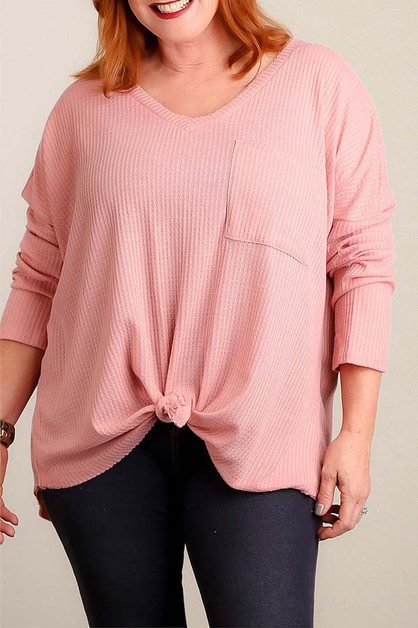 PLUS MAUVE THERMAL TIE HEM BLOUSE - orangeshine.com