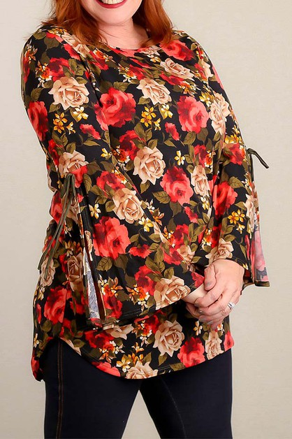 PLUS BLACK AND RED FLORAL BLOUSE - orangeshine.com