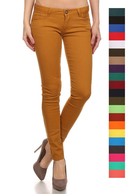 5 POCKET STRETCH SKINNY COLOR PANTS - orangeshine.com