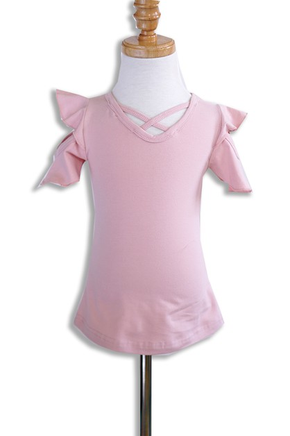 Pink Ruffle Top For Girls - orangeshine.com