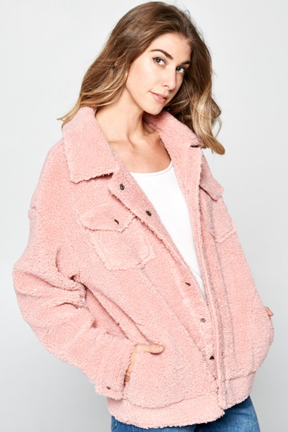 FAUX FUR SOLID MOTO JACKET - orangeshine.com
