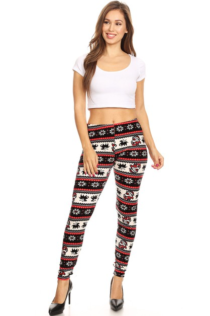 Christmas Print Velour Leggings - orangeshine.com
