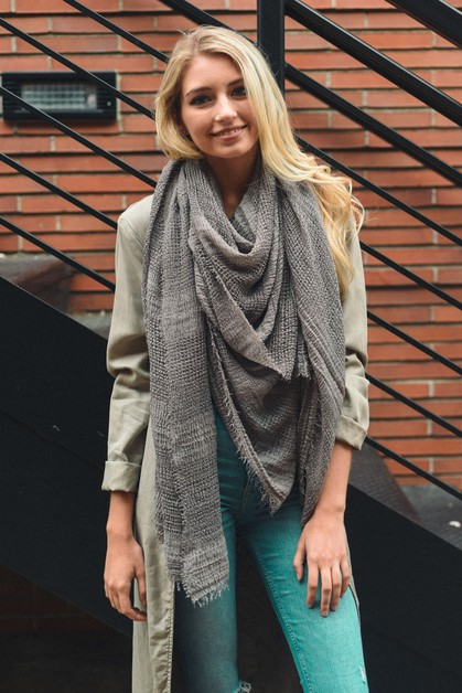 Shredded Open Weave Blanket Scarf - orangeshine.com
