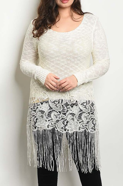 FLORAL LACE AND FRINGE DETAIL PLUS T - orangeshine.com