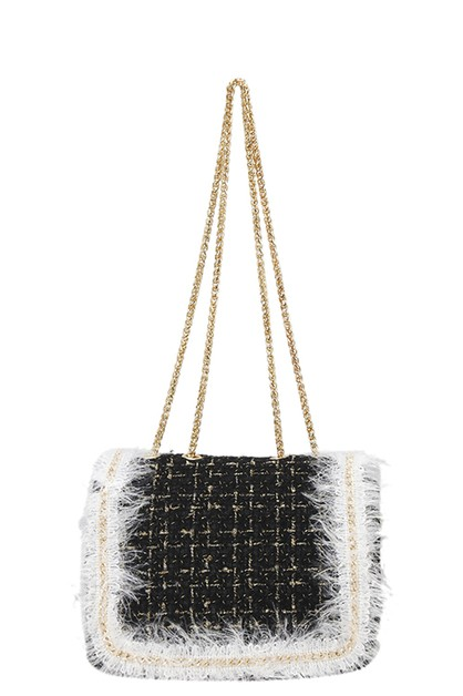 DESIGNER FUR TRIM TWEED SHOULDER BAG - orangeshine.com