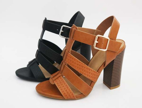 Women Perforated Chunky Heels - orangeshine.com