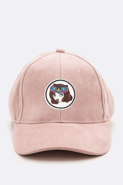 Flower Girl Iconic Patch Suede Cap - orangeshine.com