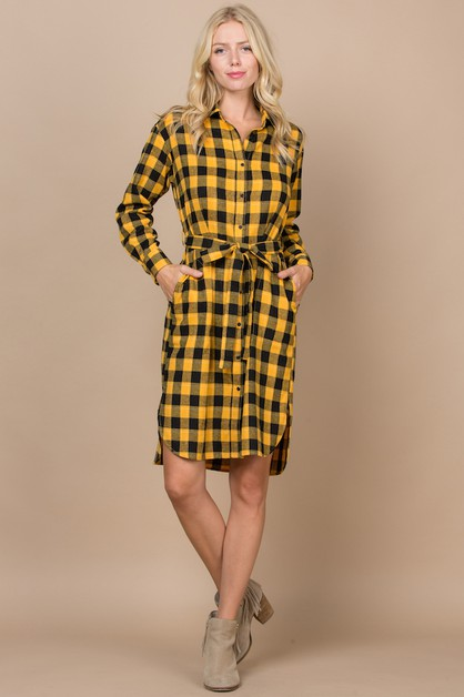 Plaid Button Up Dress Belt Pockets - orangeshine.com
