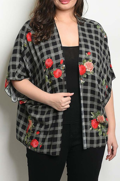 FLORAL AND PLAID PRINT PLUS CARDIGAN - orangeshine.com