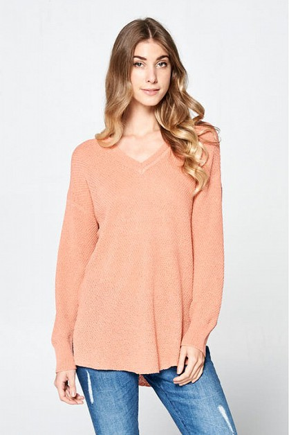 V KNIT TOP  - orangeshine.com