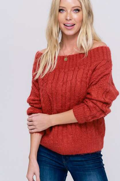 ribbed boatneck cable knit sweater - orangeshine.com