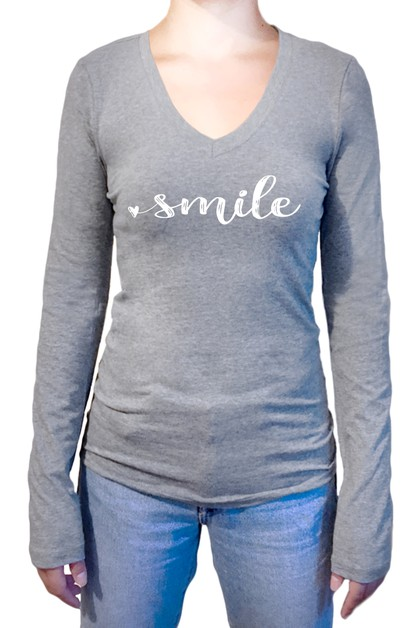 Smile Printed Long Sleeve Top - orangeshine.com