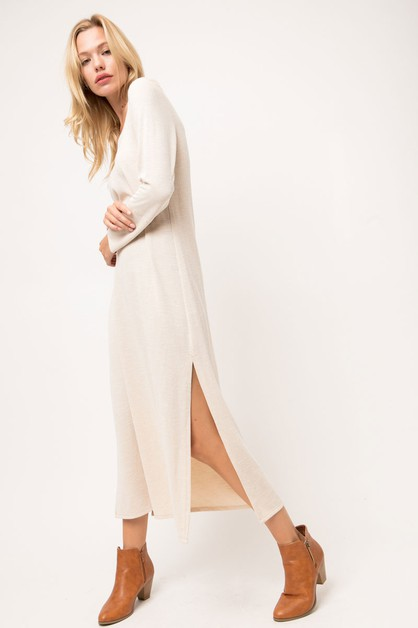 RIBBED MAXI SHIRT DRESS WITH SLITS - orangeshine.com