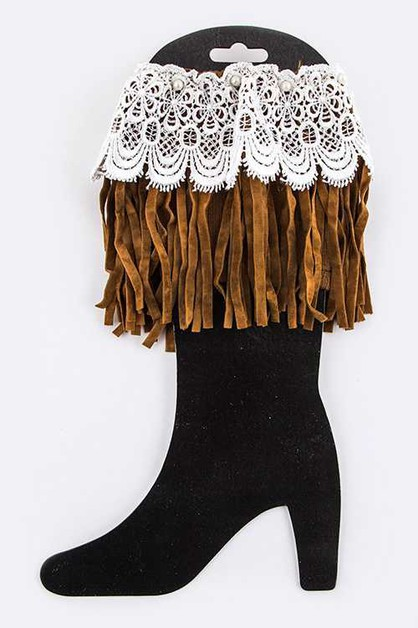 Lace and Fringe Suede Boot Toppers - orangeshine.com
