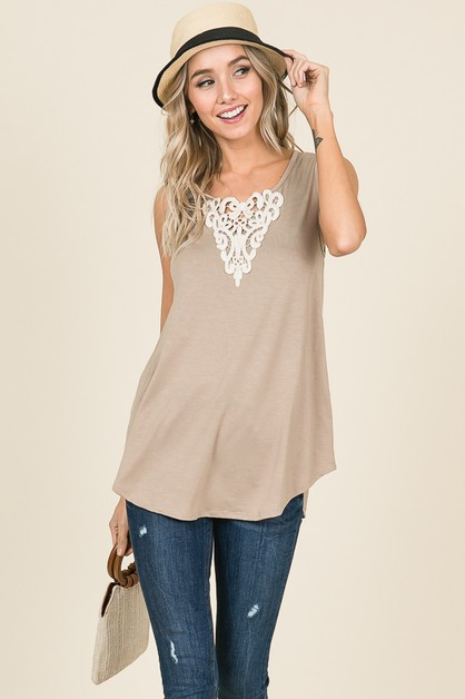 CROCHET LACE DETAIL SLEEVELESS TOP - orangeshine.com