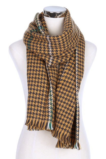 Hounds tooth Fringe Scarves - orangeshine.com