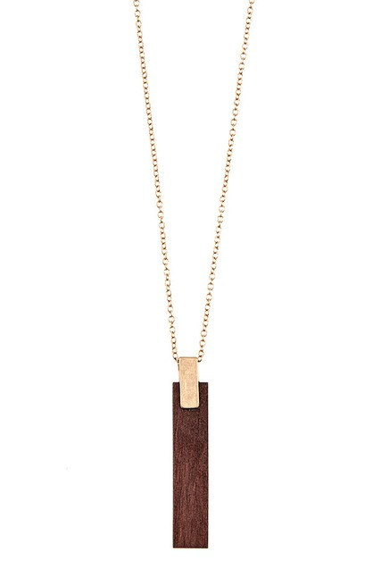WOOD BAR PENDANT LONG NECKLACE - orangeshine.com