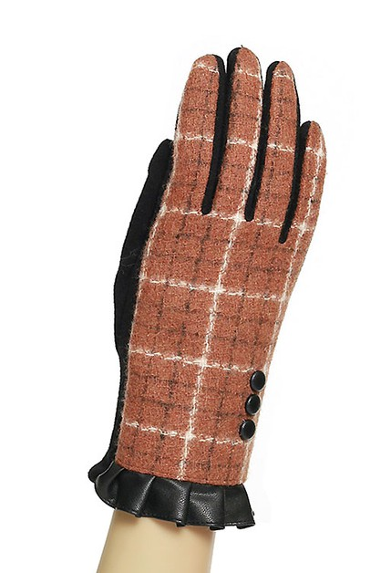 Plaid Check Touchscreen Gloves - orangeshine.com