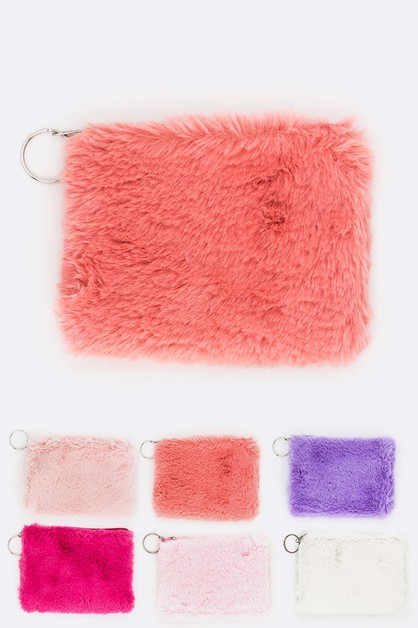 Faux Fur Cosmetic Pouch Set - orangeshine.com