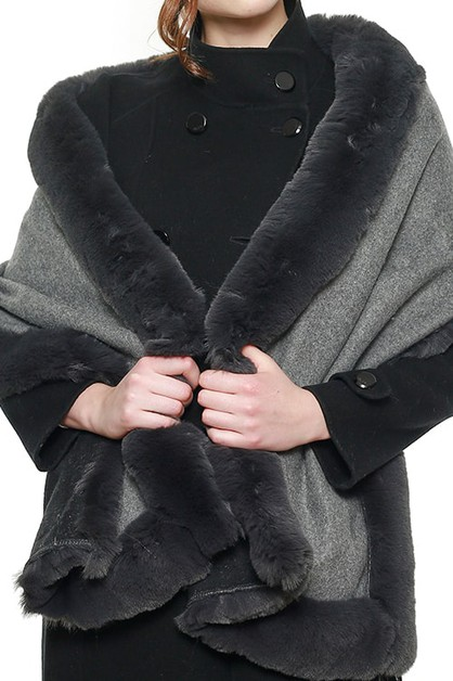 FAUX FUR TRIM WRAP SHAWL SCARF - orangeshine.com