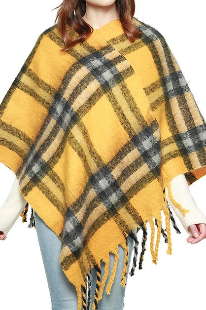 FRINGED PLAID PONCHO - orangeshine.com