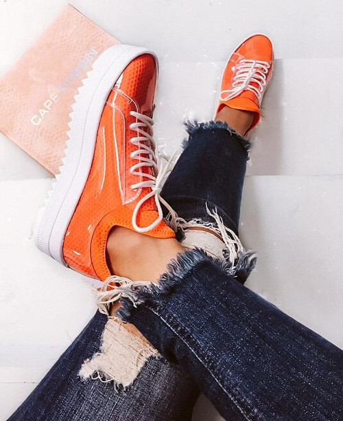 Platform Lace Up Clear Cover Sneaker - orangeshine.com