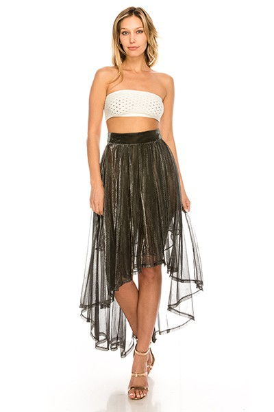 Metallic Lurex Mesh High Low Skirt - orangeshine.com