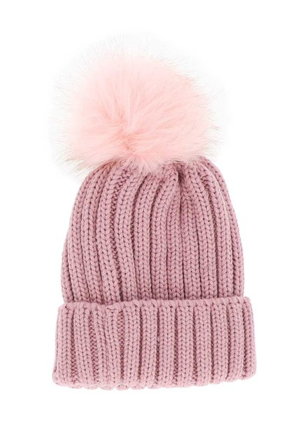Pink Knit Beanie with Pom Pom - orangeshine.com