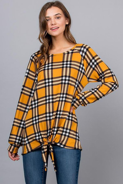 Plaid Long Sleeves Top Tie Front - orangeshine.com