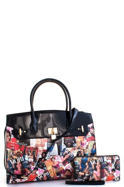 Trendy Famous People Printed Satchel - orangeshine.com