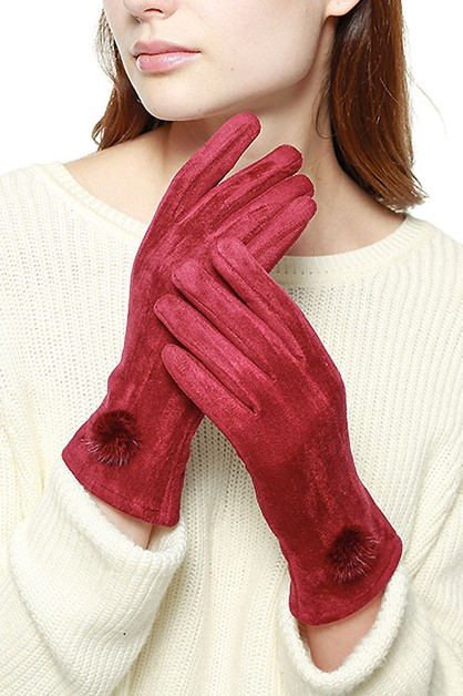 Suede Feel Pompom Touchscreen Gloves - orangeshine.com