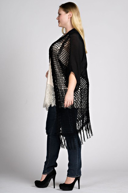 PLUS SIZE CROCHET BOHO DUSTER - orangeshine.com