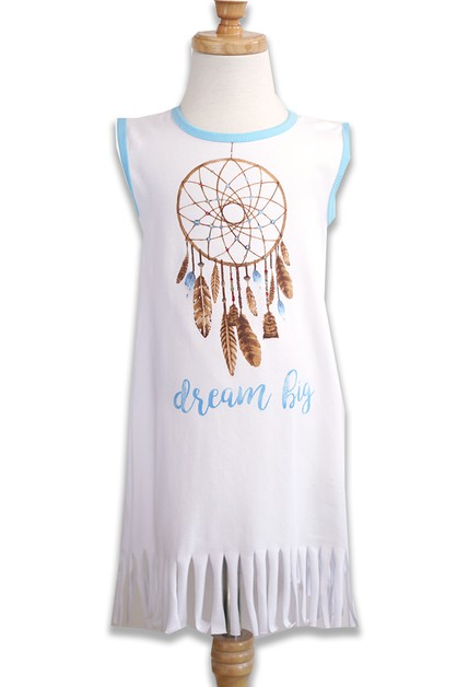 White Dream Catcher Print Dress  - orangeshine.com