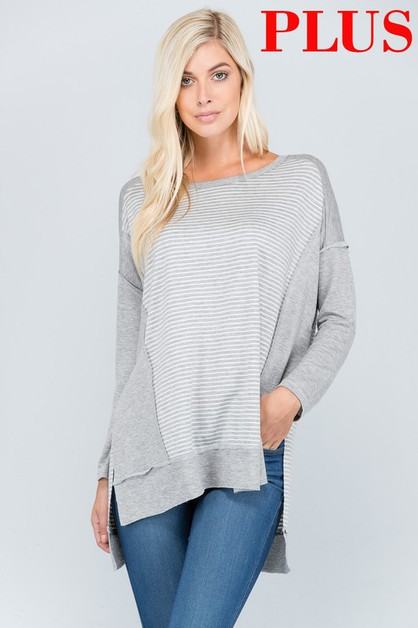 LOOSE FIT FRONT CONTRAST ACCENT TOP - orangeshine.com