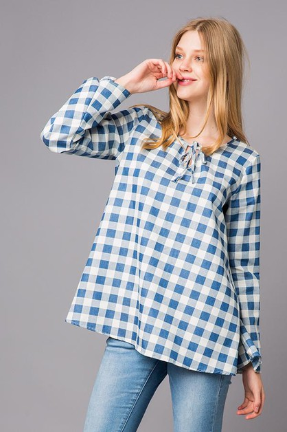 Plaid Long Sleeves with Drawstring - orangeshine.com