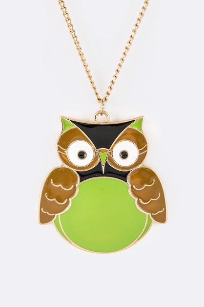 Iconic Enamel Owl Pendant Necklace S - orangeshine.com