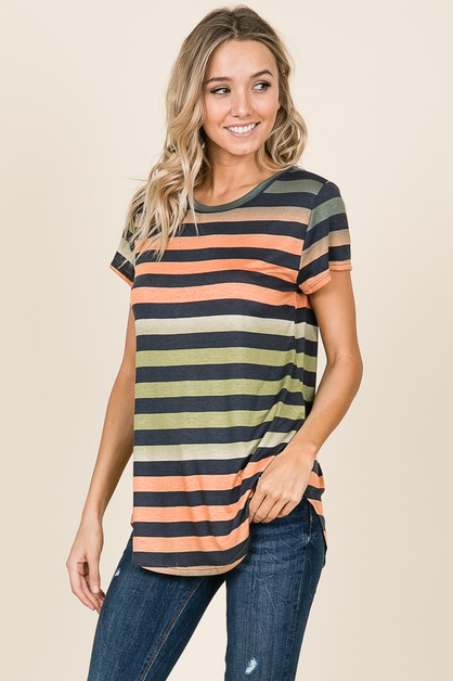 STRIPED SHORT SLEEVE CASUAL TOP - orangeshine.com