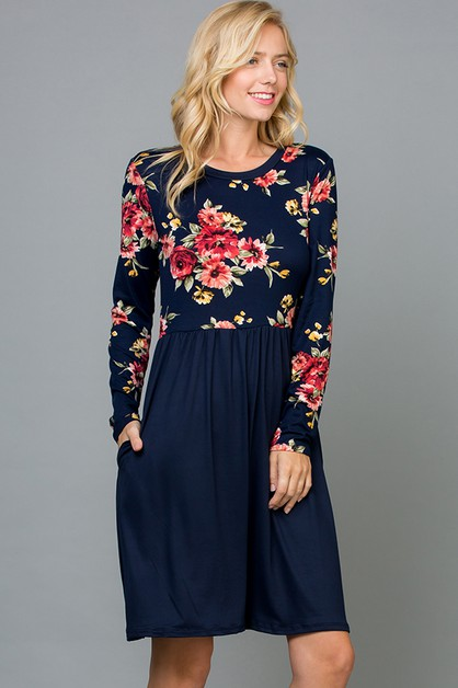 Floral Contrast Flared Dress - orangeshine.com