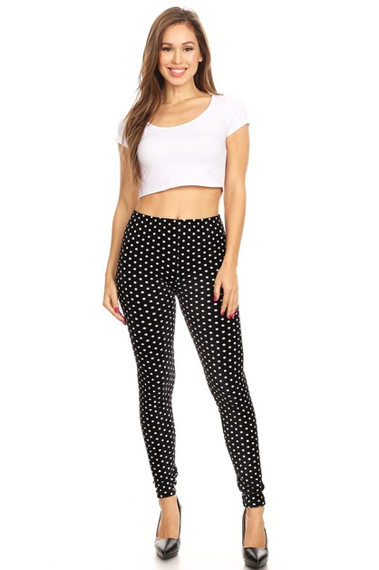 Polka Dot Print Velour Leggings - orangeshine.com
