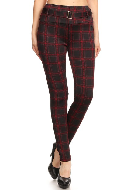 Plaid Thick Skinny Pants Winter Soft - orangeshine.com