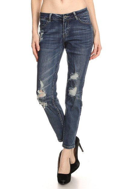 Mid Rise Ripped Stretch Skinny Jean - orangeshine.com
