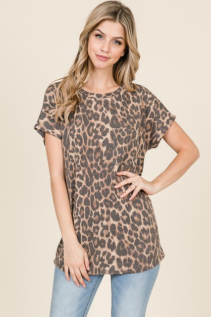ANIMAL SHORT SLEEVE CHEST POCKET TOP - orangeshine.com