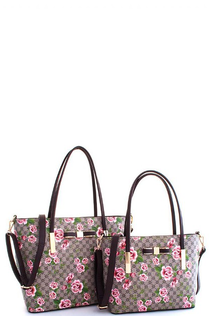 2in1 Fashion Flower Print Satchel  - orangeshine.com