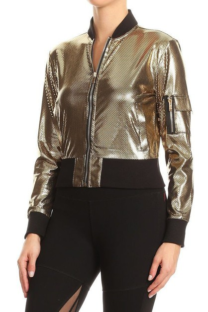 Metallic Pocket Jacket - orangeshine.com