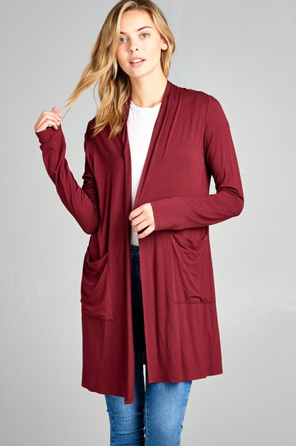POCKET LONG CARDIGAN W/ LONG SLEEVE - orangeshine.com
