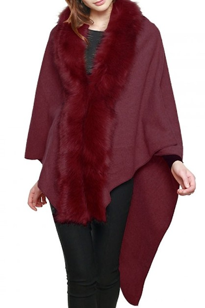 FAUX FUR TRIMMED CAPE SHAWL - orangeshine.com