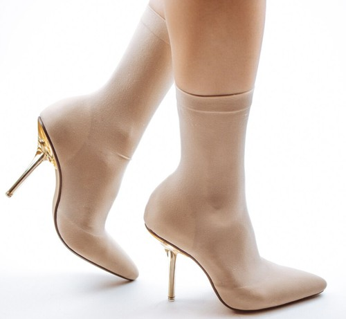 Stiltto Clear Heel Pointed Toe Sock  - orangeshine.com